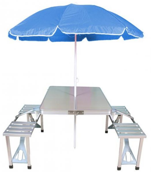 Portable Folding Picnic Table With Four Chairs And Beach Umbrella Combo