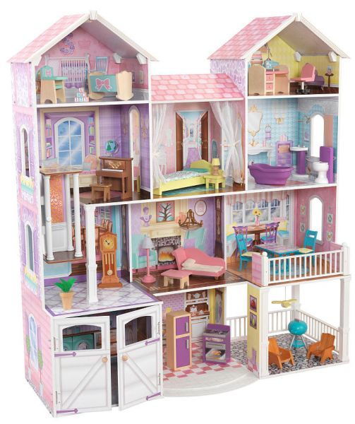 Souq kidkraft kk011 country estate dollhouse pink white for Young house love dollhouse