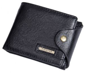 9003c1a229b0 Piroyce Mens Genuine Leather Multi-Card Folded Short Type Wallet, Black
