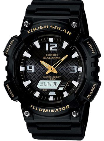 Casio Tough Solar Sports Men's Black Dial Resin Band Watch - AQ-S810W-1BV