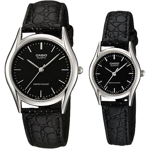 b1dc5fe9921 Casio His   Hers Black Dial Leather Band Couple Watch - MTP LTP-1094E-1A