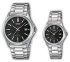 Casio His & Hers Black Dial Stainless Steel Band Couple Watch - MTP/LTP-1183A-1A (Watch)