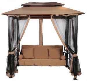 danube home gretta steel gazebo swing beigeblack - Garden Furniture Dubai