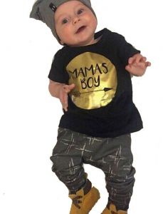 baby guess outlet y0ke  Bela baby Black Baby Clothing Set For Boys