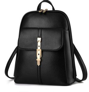European American Style Women Leather Casual Backpack Multi Function Travel Bag Schoolbag B1018 Black