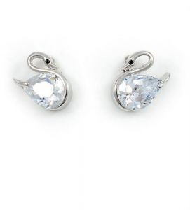 Swarovski Elements 18K White Gold Plated White Stud Earring - SWR-012