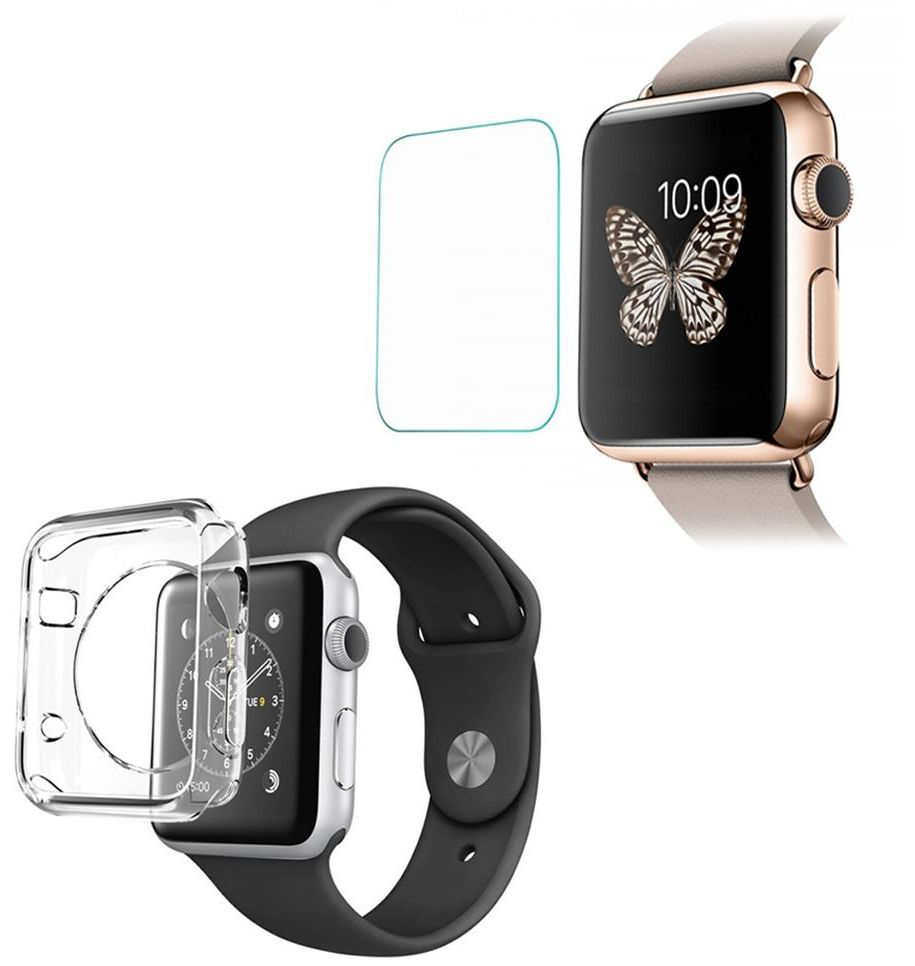 Trands 2 in 1 Apple Watch Clear Shell and Tampered Glass Screen Protector  for Apple Watch 38mm