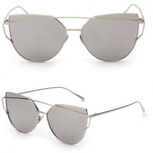 71dcee80f6 Womens Mirrored Flat Lens Metal Frame Cat Eye Sunglasses Silver Frame Silver  Lens