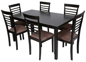 AFT CHEER1 6 Wooden Dining Table And Chair Set Wengi Dark Chocolate