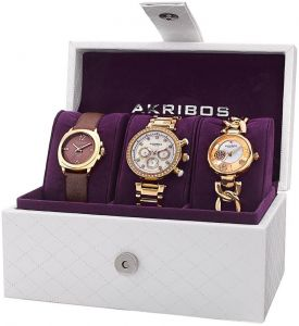 dff5466c1 Akribos XXIV Gift Set for Women - Analog Stainless Steel & Leather Band  Watch - AK741YG