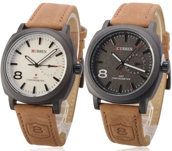 Buy pair of curren military for men analog leather band watch 8139 watches uae souq for Curren watches