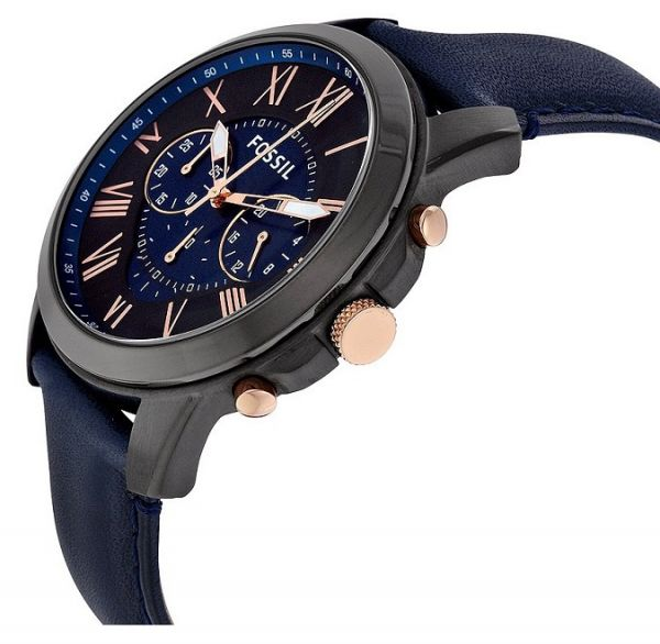 05c3551610ad Fossil Mens FS5061 Grant Black Stainless Steel Watch with Blue Leather Band