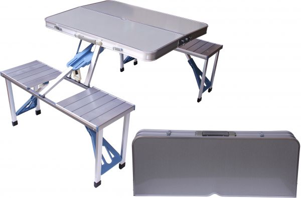 Aluminum Folding Camping Picnic Table With 4 Seats Portable Set Outdoor Garden Fs 3695 Silver