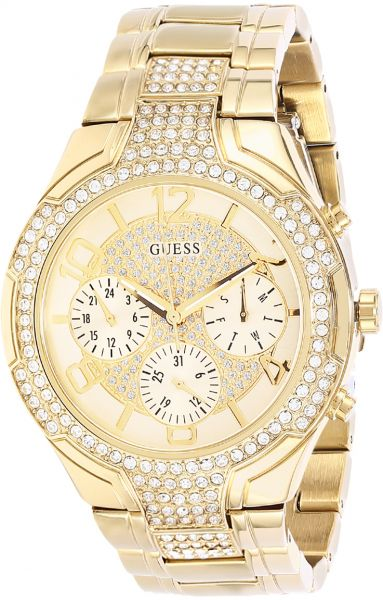 Guess Stellar Womens Gold Dial Stainless Steel Band Watch - W0628L2
