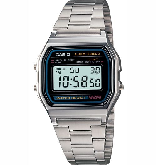 Casio Unisex Digital Dial Stainless Steel Band Watch A158WA 1