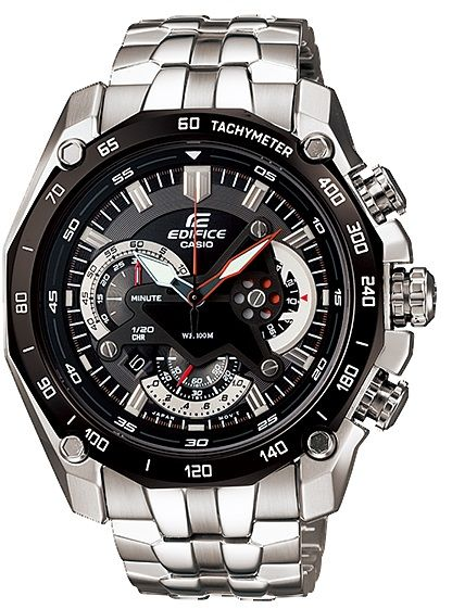 fb8fce38be2 Casio Men s Edifice Black Dial Multi Function Stainless Steel Band Watch  EF-550D-1A