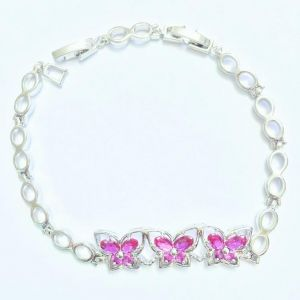 7329cf12b81 Sparkly Red Ruby White Topaz 925 Sterling Silver Overlay Link Chain  Bracelet 6 - 7.5 inch