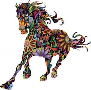Floral Running Horse Removable Wall Stickers For Livingroom Home Decoration Art Posters Mural