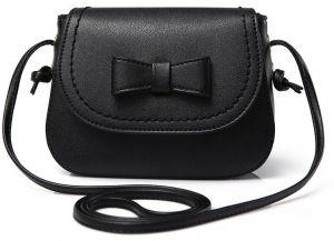 Fashion Black Leather Shoulder Bags For Women Chic Bow-knot Decor Crossbody  Bags For Ladies Girls 7a28437db56b5