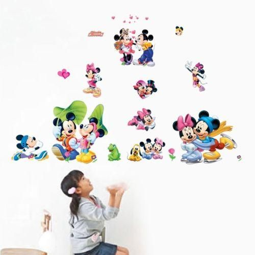 Mickey U0026 Minnie Mouse Wall Sticker Boys Girls Kids Room Decor Mural Art  Decals