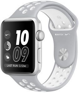 3df0e66c1 Apple Watch Series 2 - 42mm Silver Aluminum Case with Flat Silver/White  Nike Sport Band, OS 3 - MNNT2