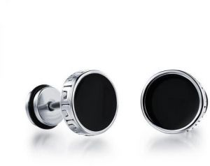 PK-302BK Classy Stainless Steel Round Stud Earring for Men