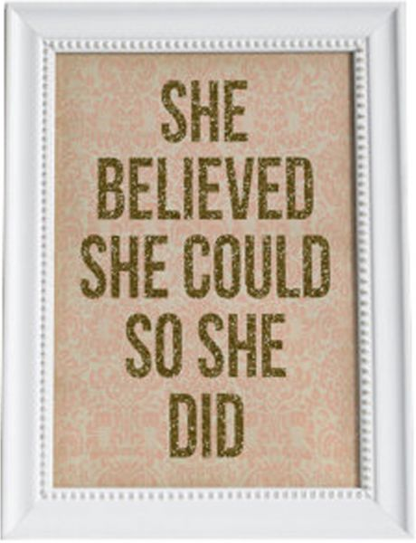 Art Wall Print With Wood Frame She Believed She Could So She Did
