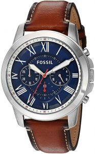 ee222299f سوق   تسوق fossil grant men s blue dial leather band chronograph ...