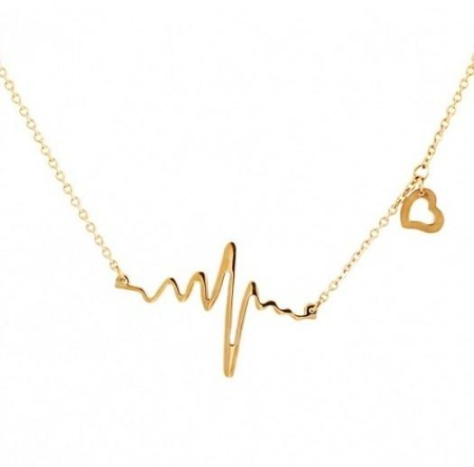 Buy ecg heartbeat heart pendant necklace gold necklaces uae souq ecg heartbeat heart pendant necklace gold aloadofball