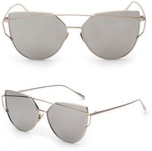 8b80f8034b6 Mirrored Cat Eye Fashion Sunglasses Designer Style Silver Frame Silver Lens