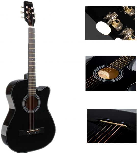 Classical Acoustic Guitar (Noble Black) Cutaway Gitar - With Guitar Bag
