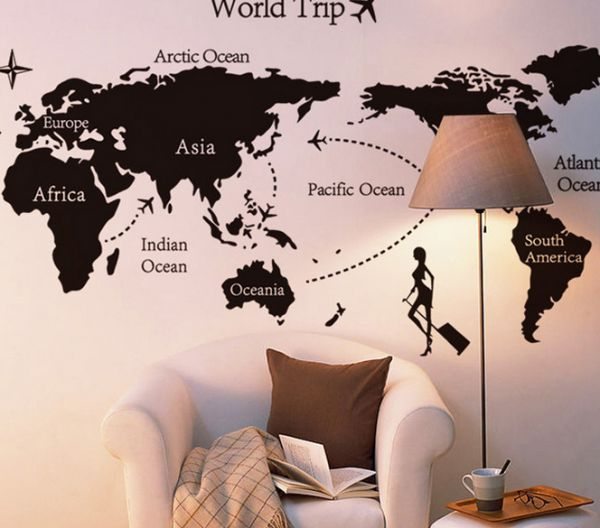 the world map wall decal pvc art sticker home decor, large, black