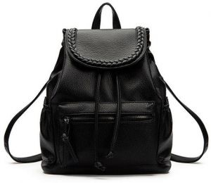 Fashion trend women soft leather shoulders bag College Wind leisure travel  backpack WB77 Black 2372b24dc1433