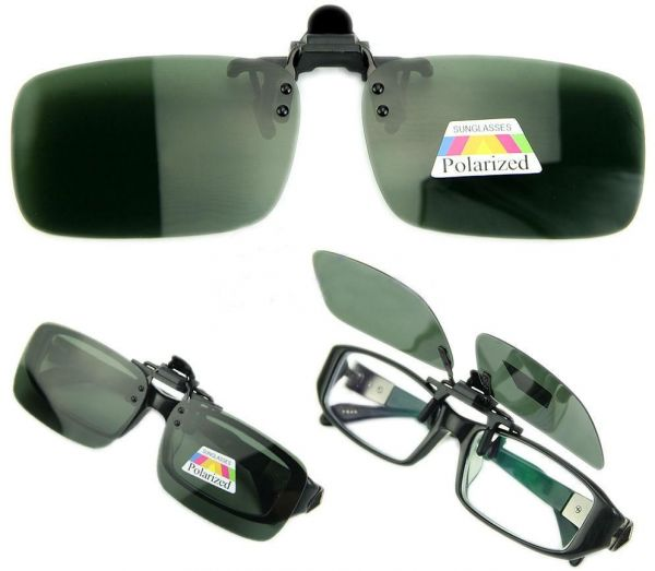 f434df6114 Polarized Day Night Vision Flip up Clip on Lens Driving Sunglasses S Size  Green  ETH-P1