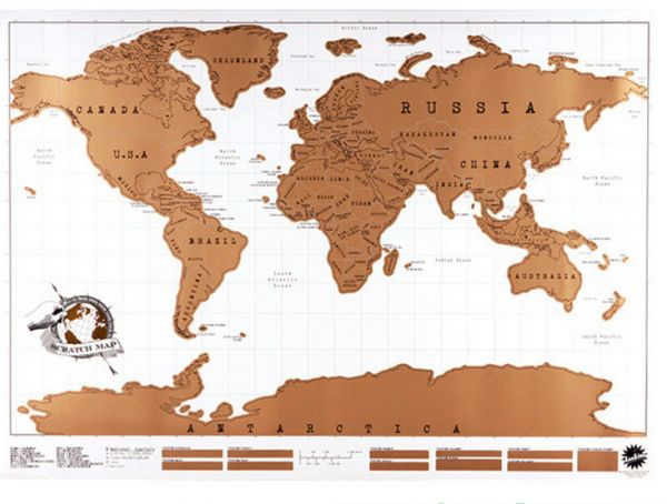 88 x 52cm Travel Scratch Off Map Personalized World Map Poster