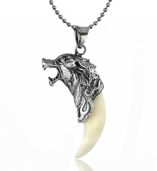 Buy mens antique silver tribal stark wolf fang vintage tooth dragon mens antique silver tribal stark wolf fang vintage tooth dragon pendant men necklace for men mozeypictures Gallery