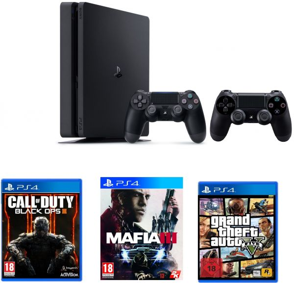 Sony PlayStation 4 500GB Slim, 2 Controllers with COD Black OPS iii + Mafia  3 + GTA 5