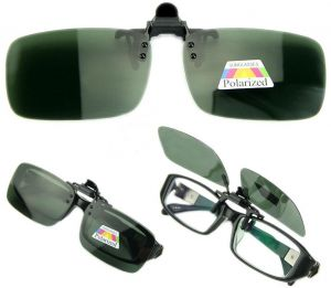 cb6f200b6f Polarized Day Night Vision Flip up Clip on Lens Driving Sunglasses L Size  Green  ETH-P1