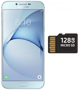 Samsung Galaxy A8 2016 Dual Sim - 32GB, 3GB RAM, 4G LTE, Blue with 128GB  micro SD
