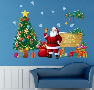 christmas santa claus wall stickers christmas windows decorations