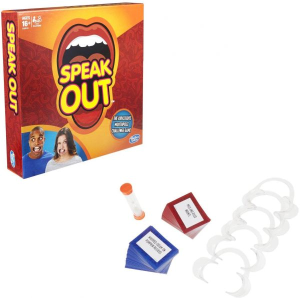 hasbro speak out game family and party game thats a mouthful of fun with game cards and more for halloween games