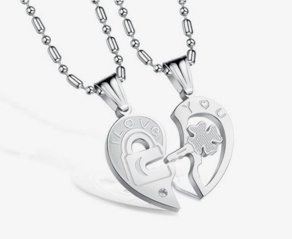 Dubaigallery couple titanium heart and ket pendant and necklaces couple titanium heart and ket pendant and necklaces aloadofball Choice Image