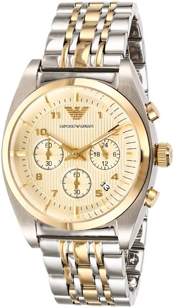 df96801171 Emporio Armani Men'S Classic Gold Dial Stainless Steel Band Chronograph  Watch Ar0396, Japanese Quartz, Analog