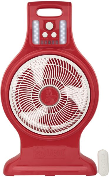 Mr. Light Rechargeable Fan with LED Light, Red - MR F500