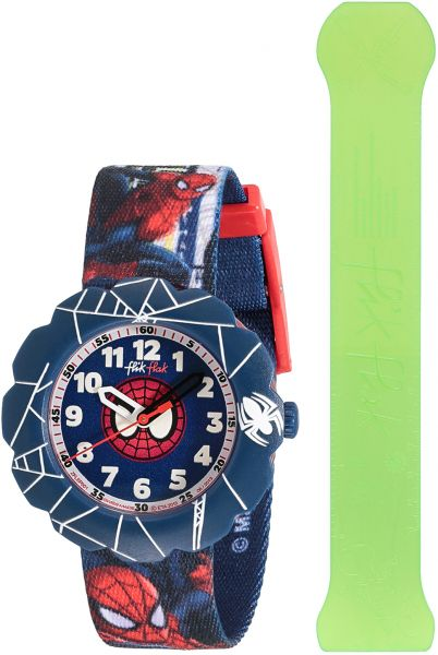 59e4470d28692 Flik Flak by Swatch Spider-Cycle Boys Blue Dial Fabric Band Watch ...