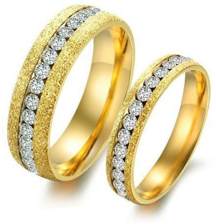 Titanium Steel Fashion Shining Diamond Gold Couple Ring cr45 fe8