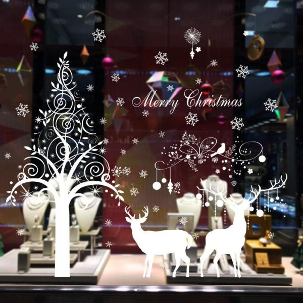 White Tree And Snowflakes Wall Decal Elk Christmas Festival Wall Stickers  Decorations Removable Art Decor DIY Christmas Tree Wall Decal For Christmas  Wall ... Part 81