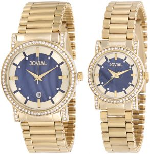 039b948f1 Jovial Unisex Blue Dial Stainless Steel Band Couple Watch Set - 5112 LGMQ  03 ZE-01