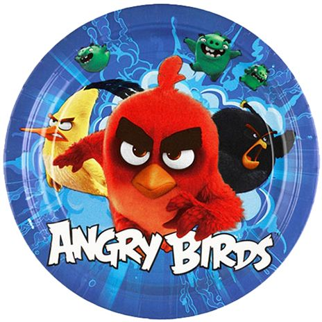 Amscan 9 inch Angry Birds Movie Paper Plates 8 Pieces 9900927