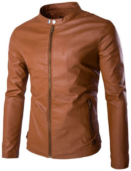 Buy Brown Leather Biker Jacket For Men - Jackets & Coats | UAE | Souq